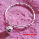New Handmade 925 Solid Silver Round Twist & Bell Newborn Adjustable Baby Bangle