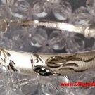Handmade Happy Together Flying Dove 999 Solid Fine Silver Adjustable Bangle