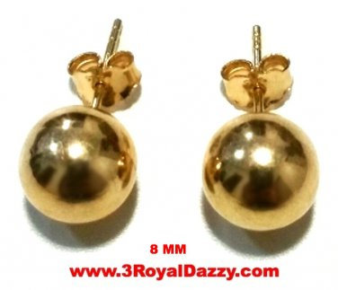14k Yellow gold layer on 925 Sterling Silver Full Round Ball Stud Earring 8 mm