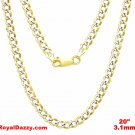 Italy diamond cut 14k white & yellow gold layered over 925 silver 3.1mm Curb 20""