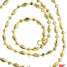 14K Yellow Gold layered on 925 Silver diamond cut Moon Chain / Necklace-2mm- 20""