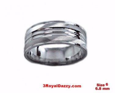 Shiny Elegant Design Cut 18k W Gold over Sterling Silver Ring Band 6.8mm Size 6