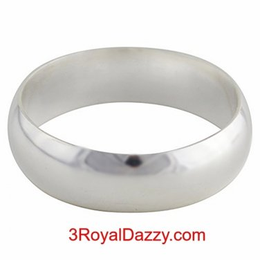 Solid 999 Fine Silver high polished glossy plain wedding Ring Band 5.5 mm S- 15