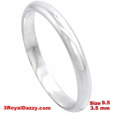 Italy Anti tarnish 925 silver high polish plain wedding band ring 3.5mm Size 9.5