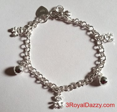 Baby Teddy Bears & Ball Bell Dangling 925 Sterling Silver Charms Girls Bracelet