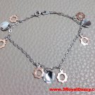 14k White and Rose Gold Layer on 925 Silver Dangling Flower Charms Bracelet