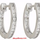 18k w. gold layer Brilliance Channel set inner & outer CZ Hoop Huggie Earring
