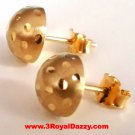 14k Yellow gold layer 925 Sterling Silver Half Round Flat Ball Stud Earring 6 MM