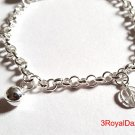 Peace Sign & Ball Bell Dangling 925 Sterling Silver Charms Little Girl Bracelet
