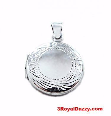 Anti Tarnish Sterling Silver Eye Catching Engraving Design Round Picture Locket