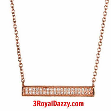 """Rose on Solid Sterling Silver CZ Double Horizontal Bar Pendant Necklace 16""""-18"""""""
