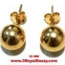 14k Yellow gold layer on 925 Sterling Silver Full Round Ball Stud Earring 10 mm