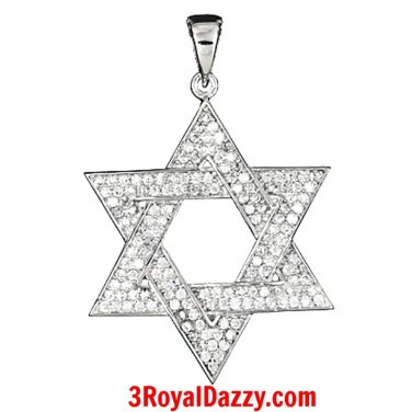 14k gold on solid 925 Solid Silver with CZ Star of David - Jewish Charm Pendant
