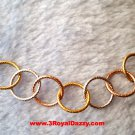 14k Rose, Yellow, White Gold Layer on 925 Silver Intertwine Hoop Style Necklace