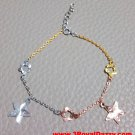 14k Tri-Color Gold Layer on 925 Silver Dangling Big Stars Flowers Charm Bracelet