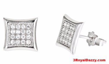 14k White gold layer Medium size Square kite CZ .925 Sterling Silver Micro Pave
