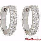18k w gold layer Brilliance Prong set double roll CZ Hoop Huggie Earring Silver