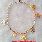 14k Rose, Yellow, White Gold Layer on 925 Silver Sweet Flowers Charms Bracelet