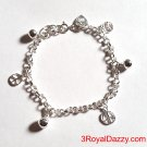 Peace Sign & Ball Bell Dangling 925 Sterling Silver Charms Little Girls Bracelet