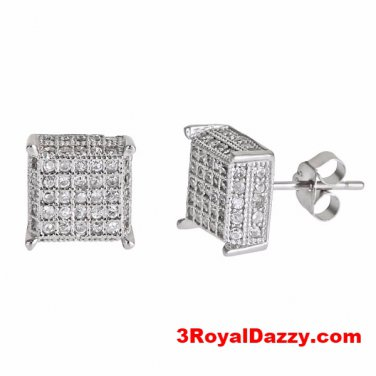Median size Platinum Layered on .925 Sterling Silver Square shape Micropave Stud