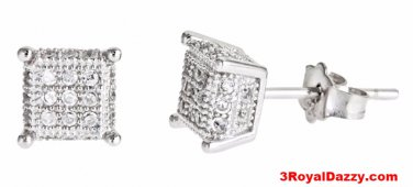 14k white gold layer on Small Square micro pave set all sizes CZ 925 Silver Stud