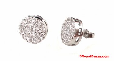 18k white gold layer on Large size Brilliant Round Cut Micro Pave Stud CZ .925
