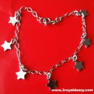 18k white gold layer on Solid 925 Silver dangling Classic Stars charms Bracelet