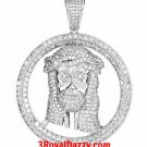 Hip Hop Iced Out Jesus Face white gold on Silver Pendant Medallion - Large Size