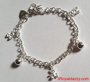 Baby Teddy Bears & Ball Bell Dangling .925 Sterling Silver Charms Girls Bracelet