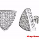 Hip Hop Triangular shaped bling bling 18k w gold layer CZ silver Mirco Pave stud
