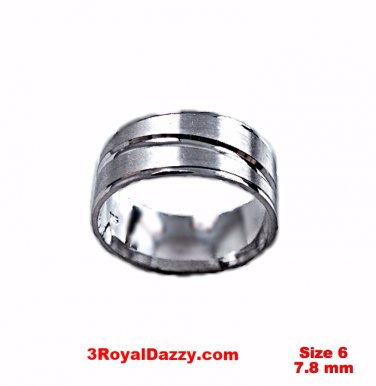 Lined Design Matte & Shiny 18k layer on Sterling Silver Ring Band 7.8 mm Size 6