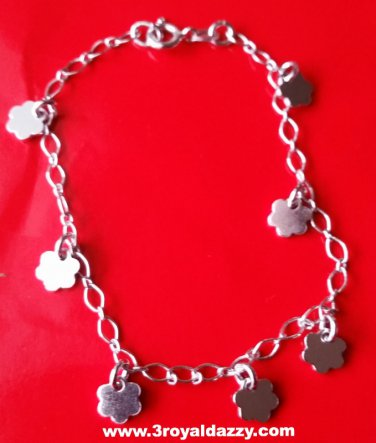 18k white gold layer on Solid Sterling Silver dangling Flowery charms bracelet