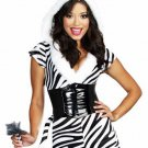New Sexy Women's Halloween Costume Zebralicious Zebra Print Jumpsuit size- Small