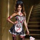 NEW Halloween Sexy French MAID MAYHEM Costume Zombie Vampire Bloody size-X Large