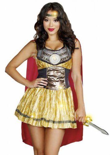 New Sexy Golden Gladiator Adult Costume - Greek and Roman Costume Size- Large