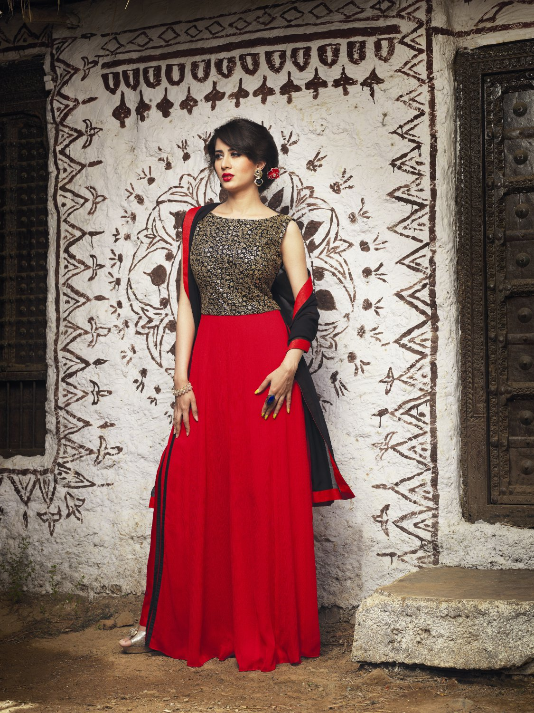 Red Black Designer Embroidery Dress