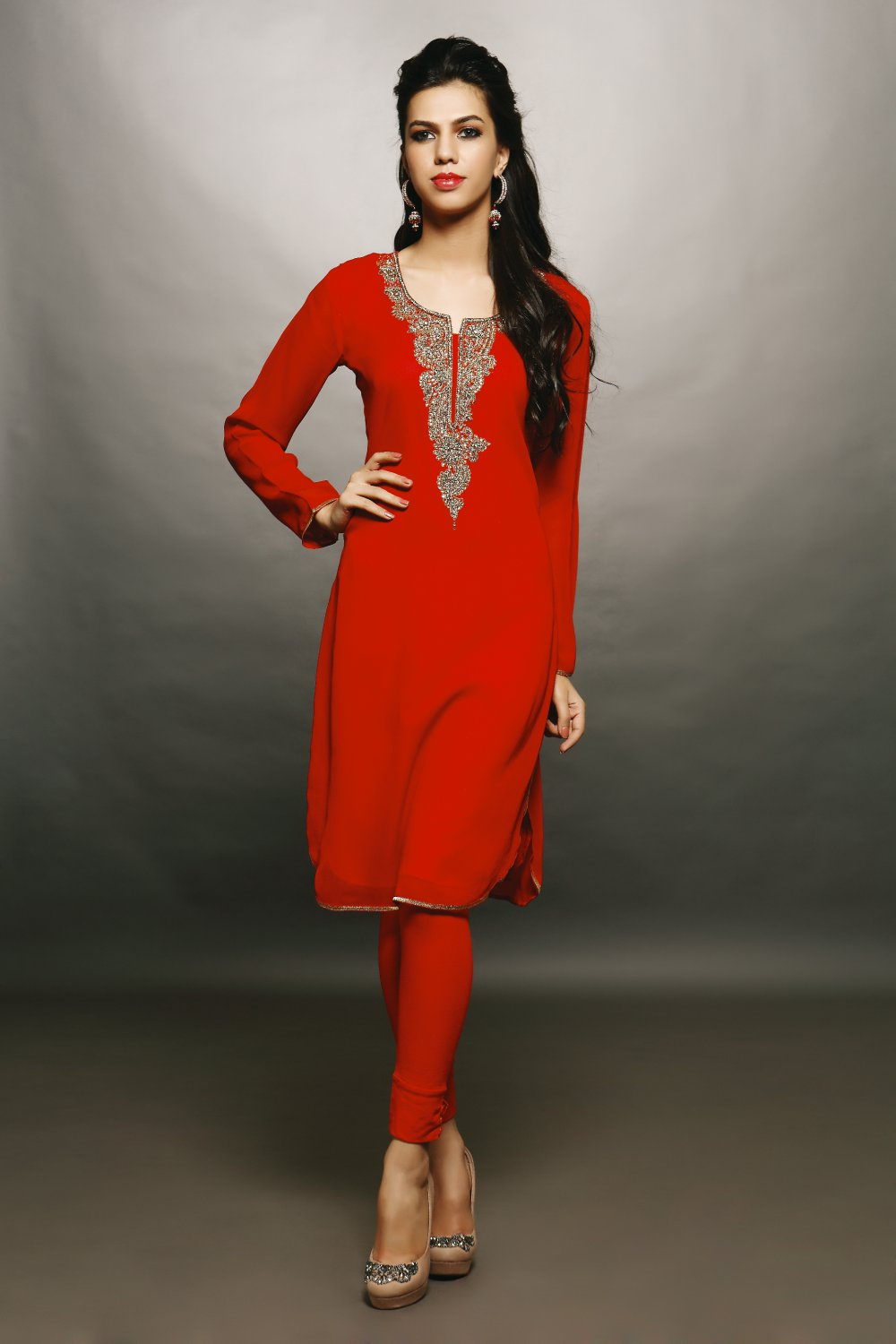 Red Designer Embroidery Suit (Kurti)