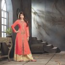 Tea Rose Orange Designer Embroidery Suit (Long Kurti)