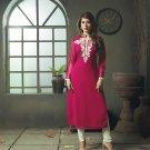 Deep Pink Designer Embroidery Suit (Long Kurti)