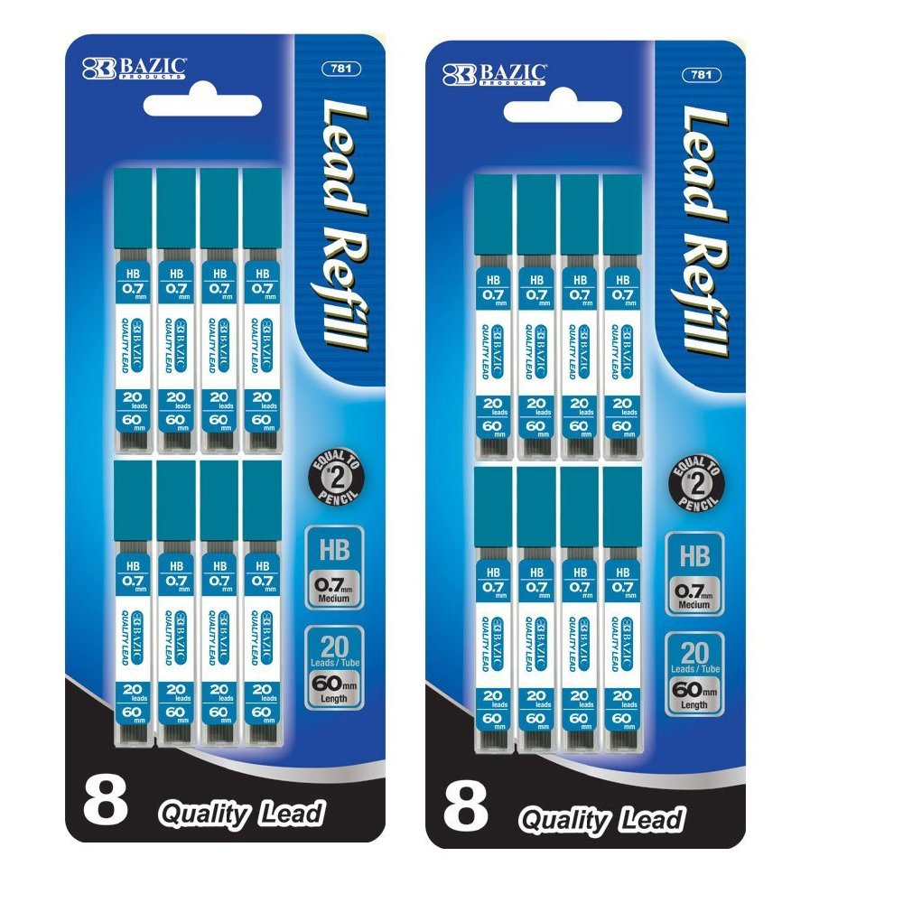 2x Bazic 0.7mm Lead Pencil Mechanical Lead Pencils