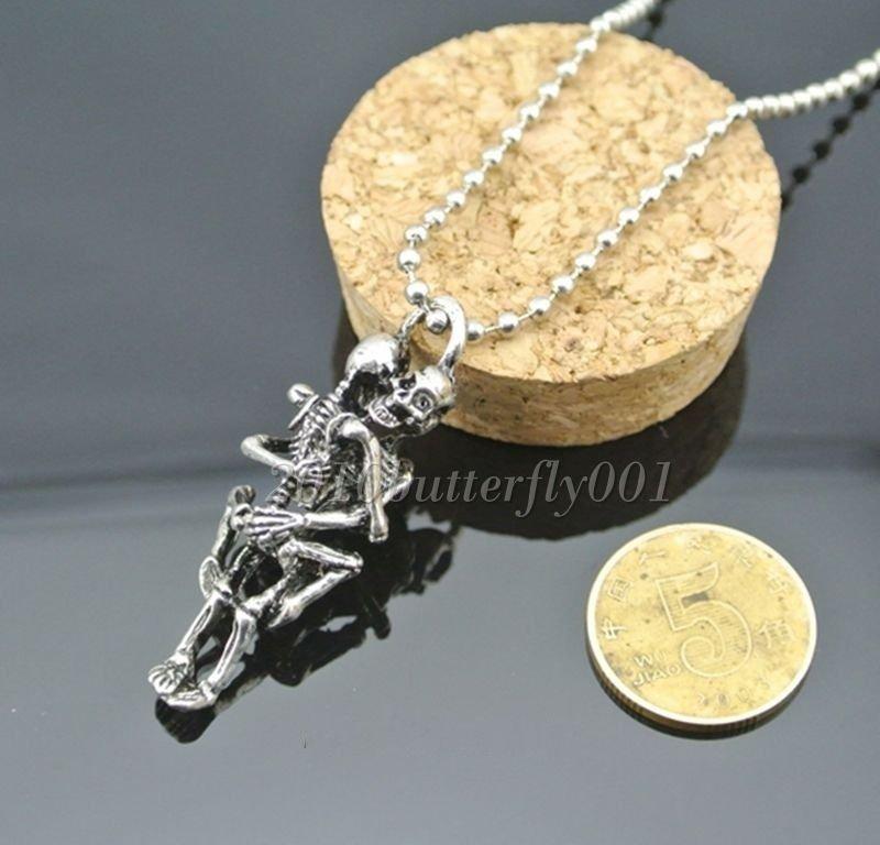 Antique Silver Titanium Steel Skull Charms Pendant Chain Necklace