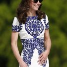 Kate Middleton Taj Mahal Inspired Blue white Floral Paisley Dress