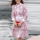 Kate Middleton Red and White Dress  With Beautiful Floral Patterns
