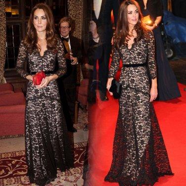 Kate Middlenton The Glamorous Black Lace Dress
