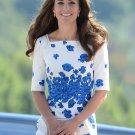 Kate Middleton Snorkel Blue Floral Paisley Lasa Dress L size