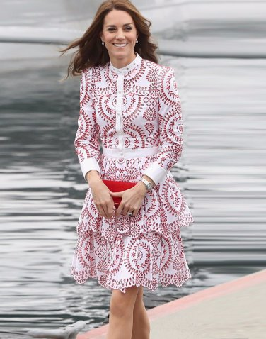 Kate Middleton Red and White Dress  With Beautiful Floral Patterns L size
