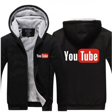 2017 Youtube Funny Logo Printed Hoodies Men Jacket Luxury Black Style