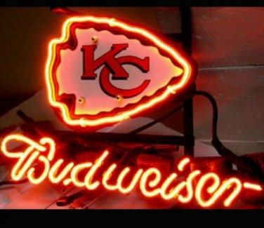 """Brand New NFL Kansas City Chiefs Budweiser Beer Bar Pub Neon Light Sign 13""""x 8"""" [High Quality]"""