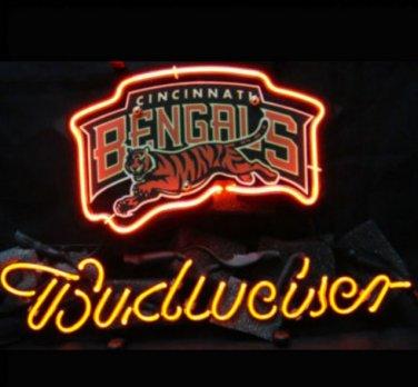 """Brand New NFL Cincinnati Bengals Budweiser Beer Bar Pub Neon Light Sign 13""""x 8"""" [High Quality]"""