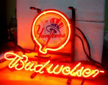 "Brand New MLB New York Yankees Budweiser Beer Bar Pub Neon Light Sign 13""x 8"" [High Quality]"